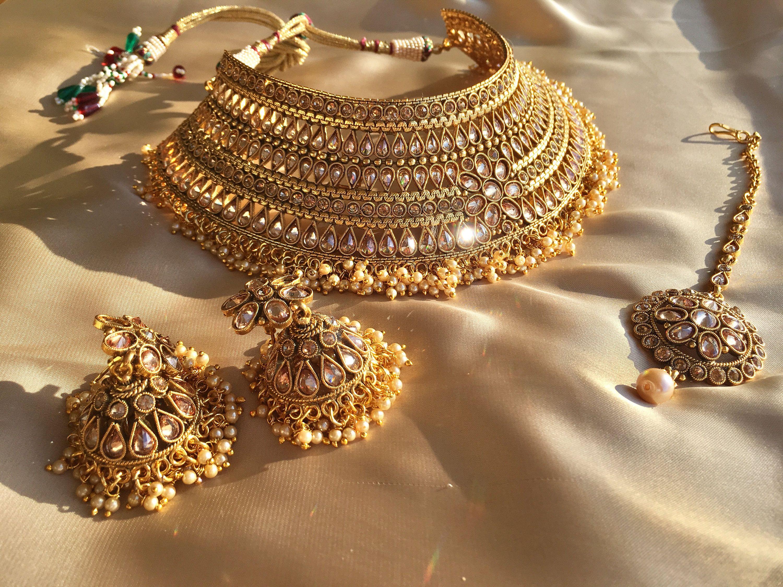 ca48a3301d1 Indian Jewelry, Choker Set, Pakistani jewelry, Choker Kundan Necklace set,  Punjabi jewelry, Indian Jewelry by Glamorze on Etsy