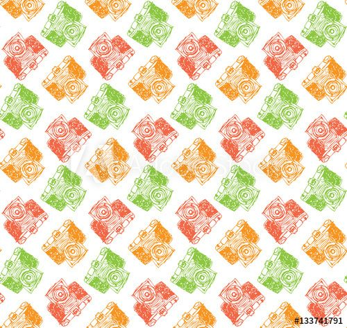 Seamless Camera Wallpaper Hand Drawn Retro Style Background Layer Vector Illustration Pattern