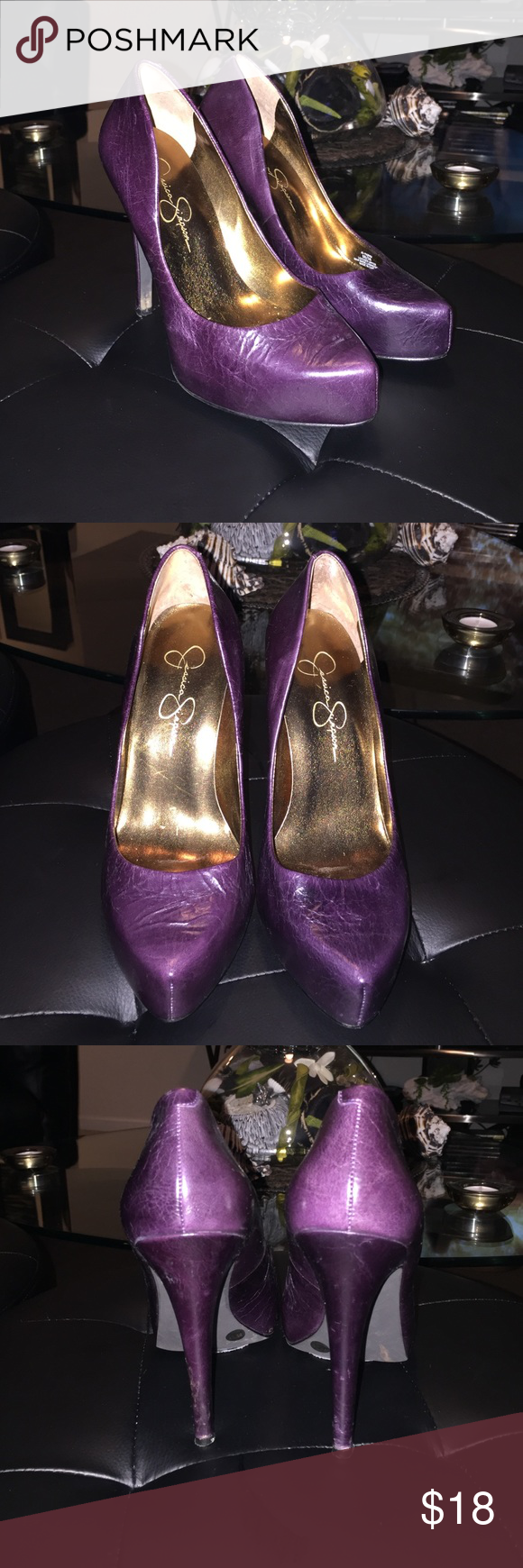 Jessica Simpson eggplant purple pumps sz 6 Jessica Simpson eggplant purple heel pumps sz 6. Excellent condition!! beautiful color! Heel height 4.5 inches Jessica Simpson Shoes Heels