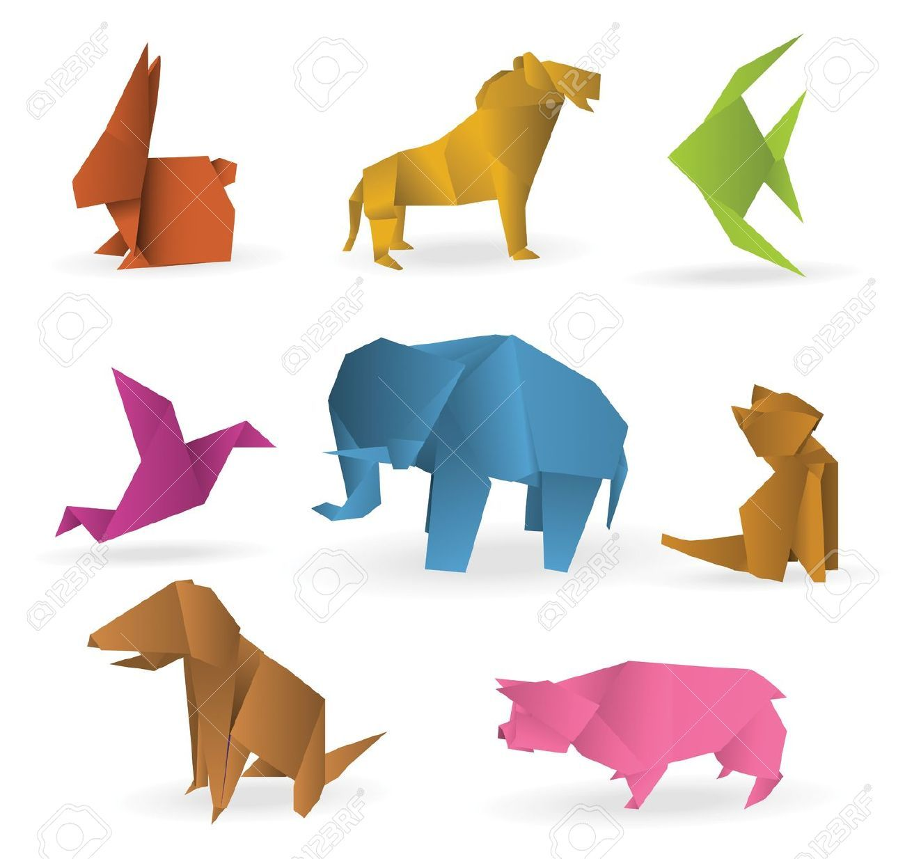 21823178-Origami-animals-Stock-Vector.jpg (1300×1234)