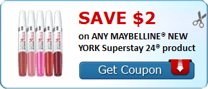 graphic about Printable Maybelline Coupons named Contemporary Coupon! Preserve $2.00 upon ANY MAYBELLINE® Fresh YORK Superstay