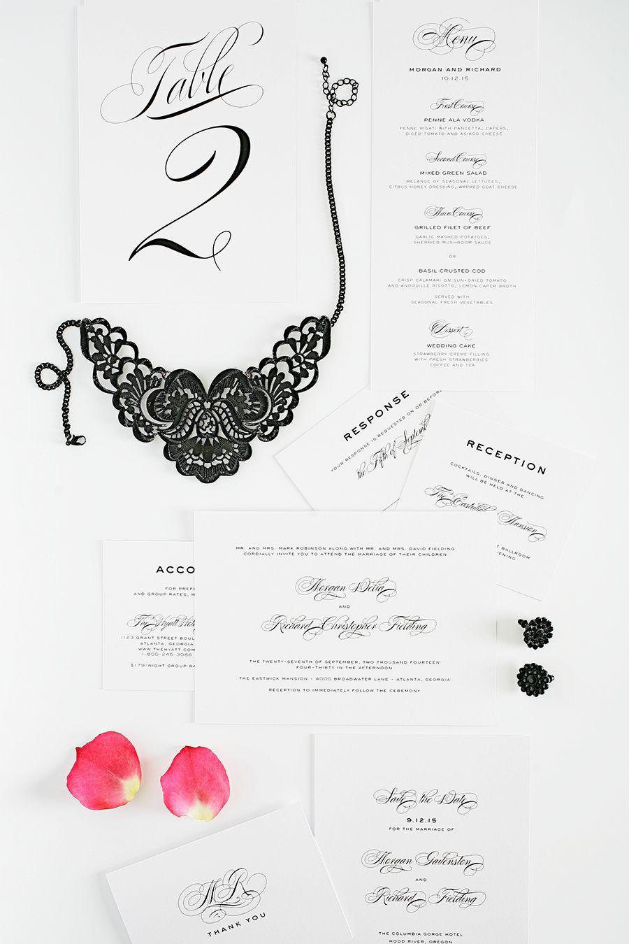 classic and modern black tie wedding invitations. love!