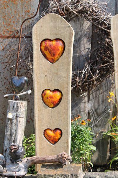 Holzstele,Herz,getöpfert, Gartendeko,Hochzeit - gartendekoration aus holz