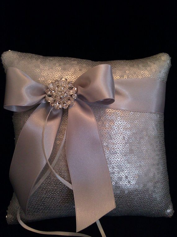Metallic Ring Bearer Pillow with All ICy Silver Sequins | Ringkissen ...