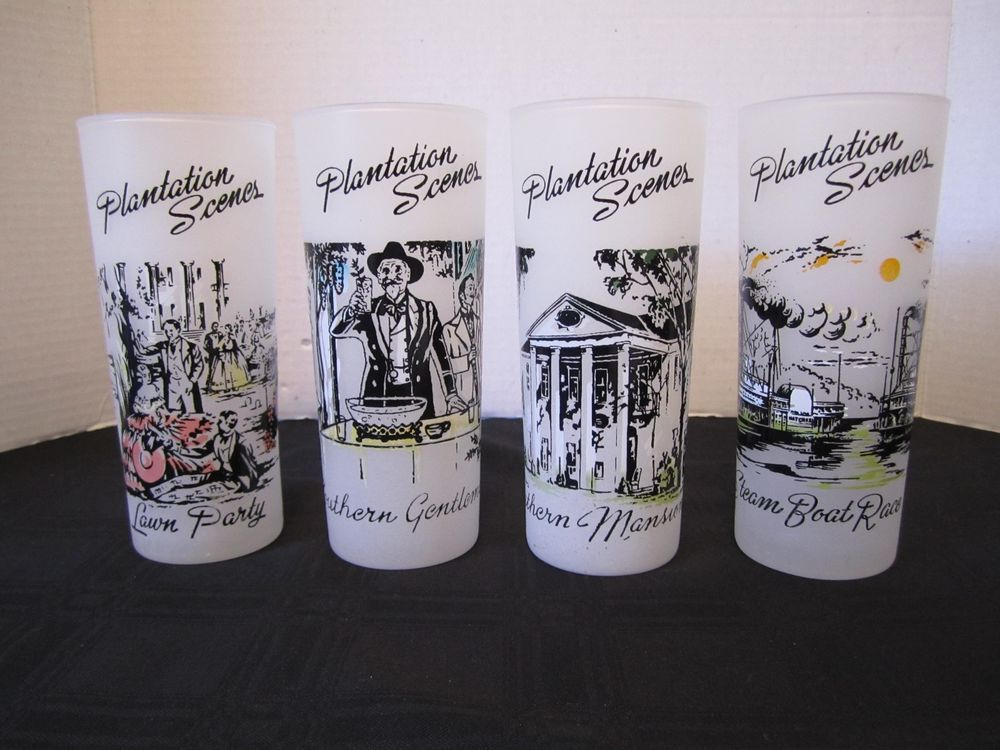 4 Mid Century Plantation Scene Southern Ice Tea Glasses ...