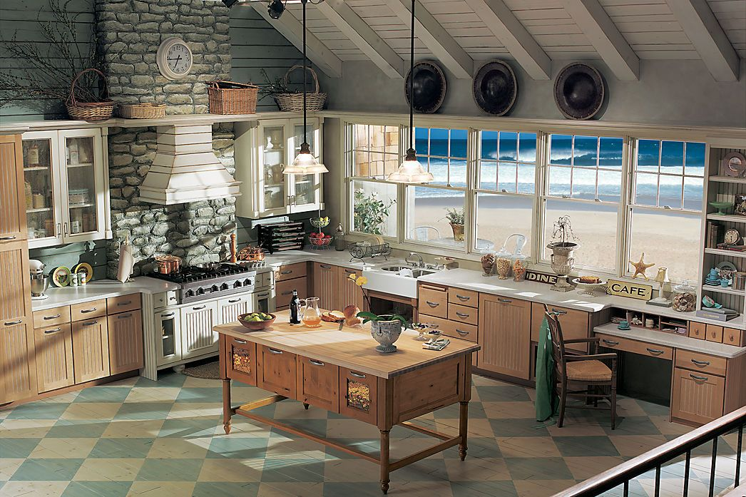 Going For Beach Theme Medallion Cabinetry Laurel Bay Maple Wheat Hickory Kitchen