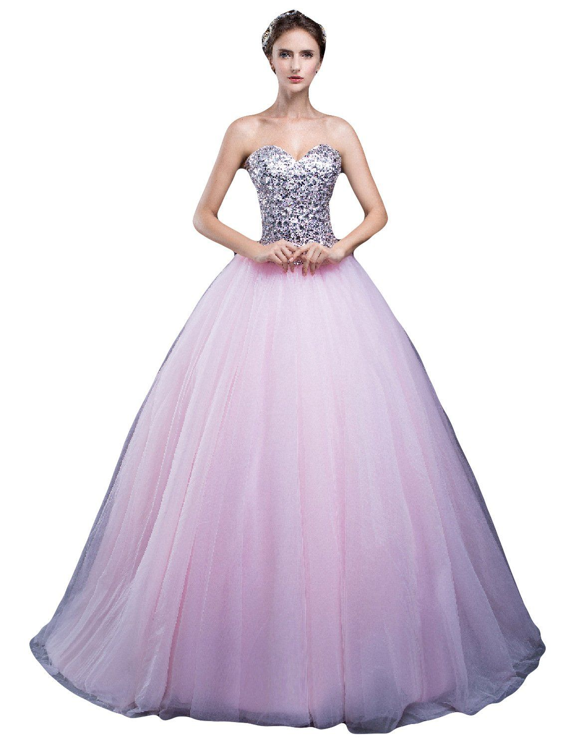 Lmbridal womenus beading sweetheart prom dress ball gown quinceanera