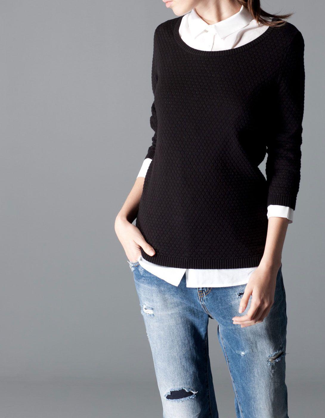 Трикотажный свитер со структурным рисунком