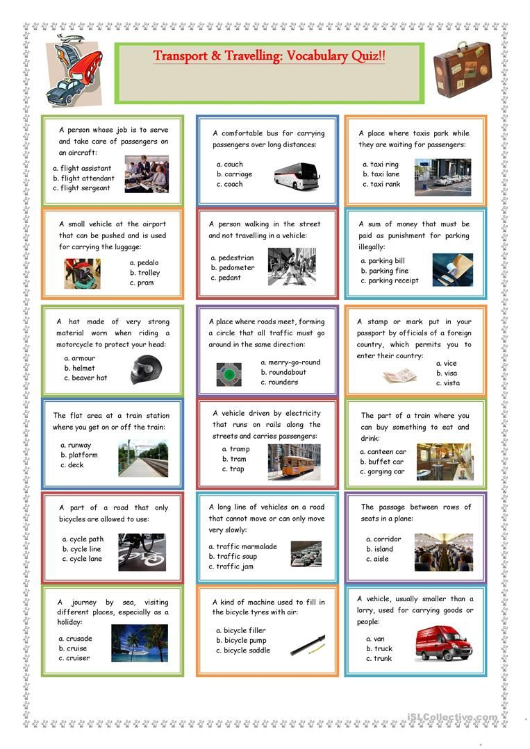 Transport And Travelling Vocabulary Quiz English Esl Worksheets For Distance Learning And Phy In 2020 Vocabulary Quiz English Travel Vocabulary Vocabulary Exercises