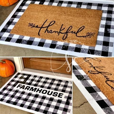 DIY Painted Buffalo Check Doormat by Southern Crush at Home #diy #diyhomedecor #fall #SouthernCrushAtHome