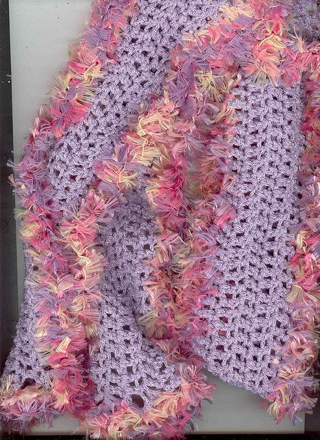 freecycle yarn- eyelash edged scarf | Scarves Crocheted | Knit