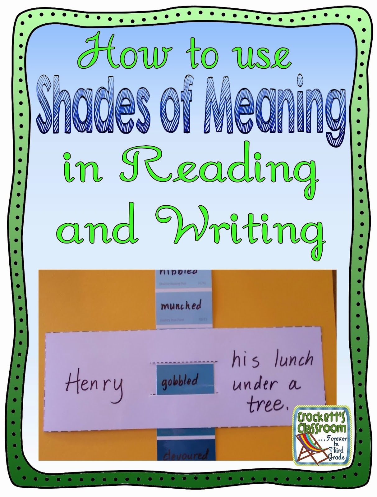 How do you use shades of meaning in your reading and writing lessons? Here  are a couple of activities that help students understand how subtle changes  in ...