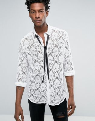 ASOS Regular Fit Lace Shirt With Detachable Pussy Bow In White