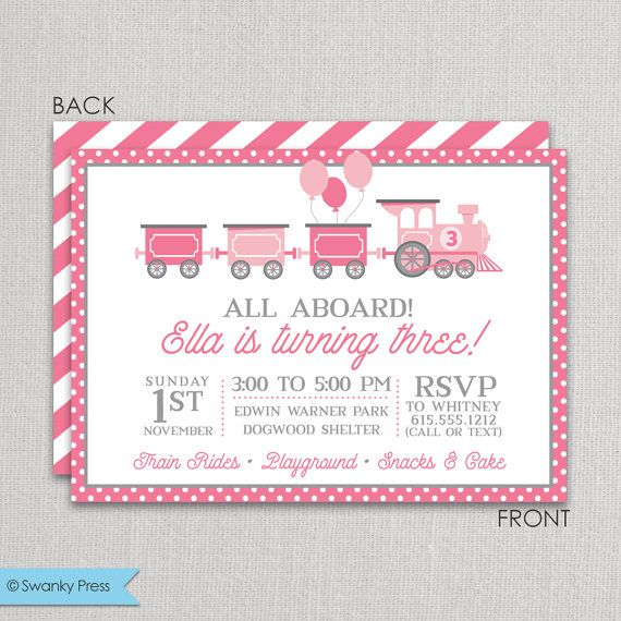 Train Birthday Party Invitation for girls Pink and Grey Girl Train