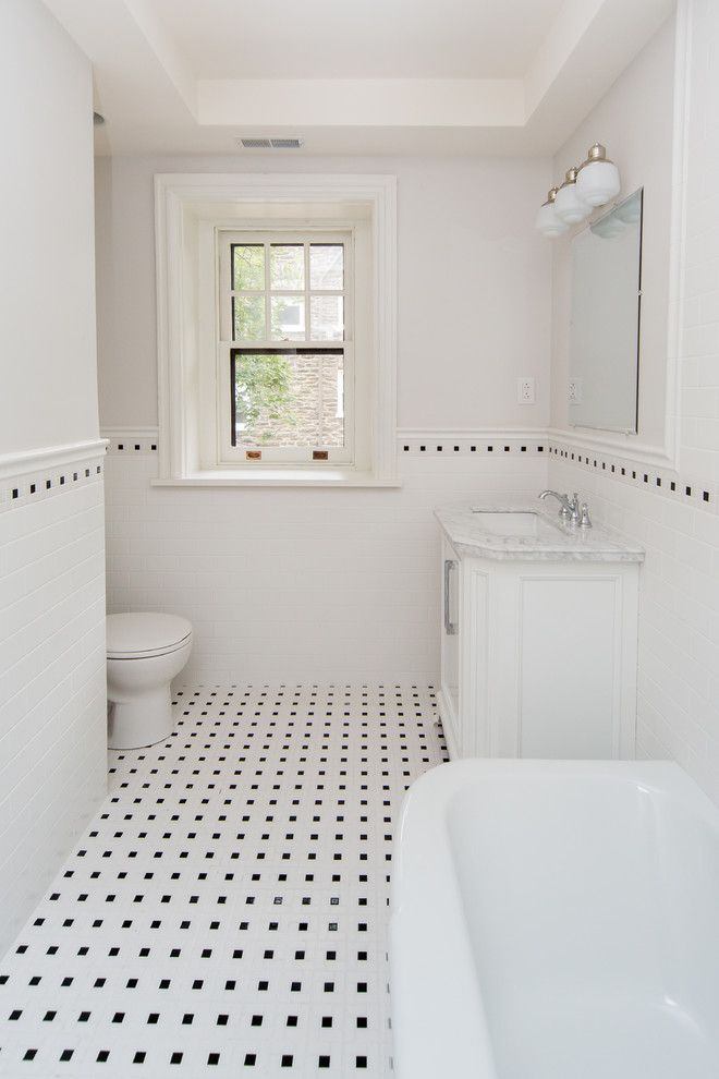 Sumptuous Tudor Style Homes method Philadelphia Traditional Bathroom  Inspiration with Subway Tile black white black and white black and white floor  tile ...