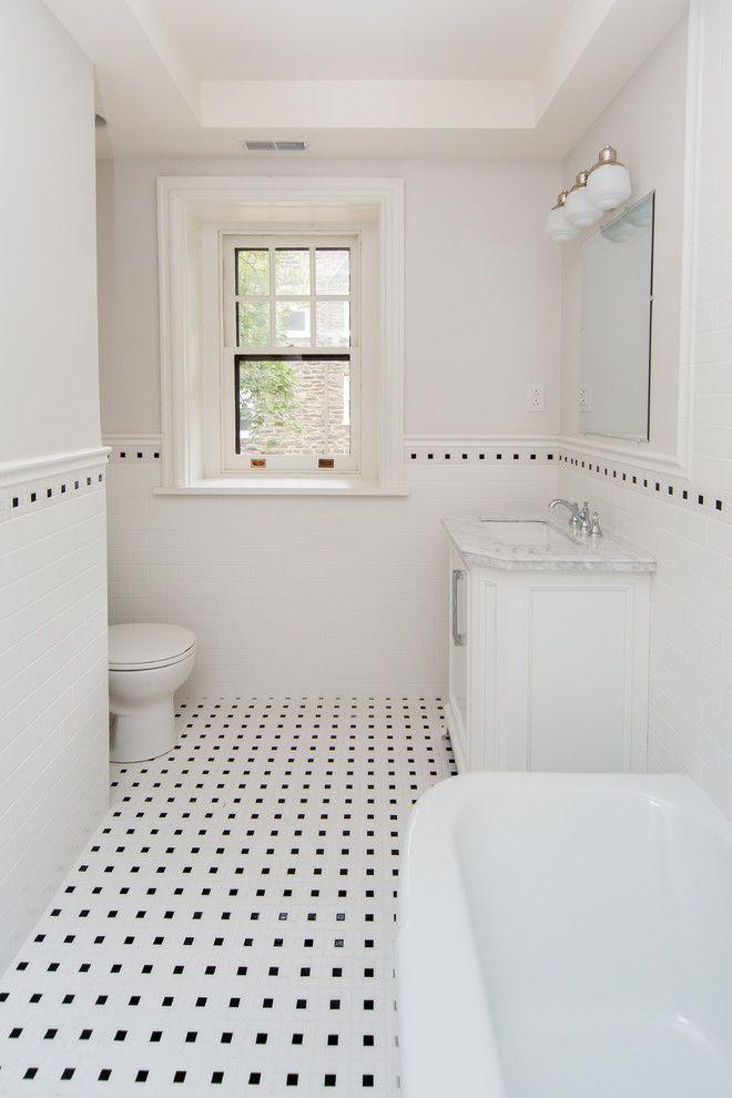 sumptuous design ideas subway tile bathroom images. Sumptuous Tudor Style Homes method Philadelphia Traditional Bathroom  Inspiration with 3x6 Subway Tile black white