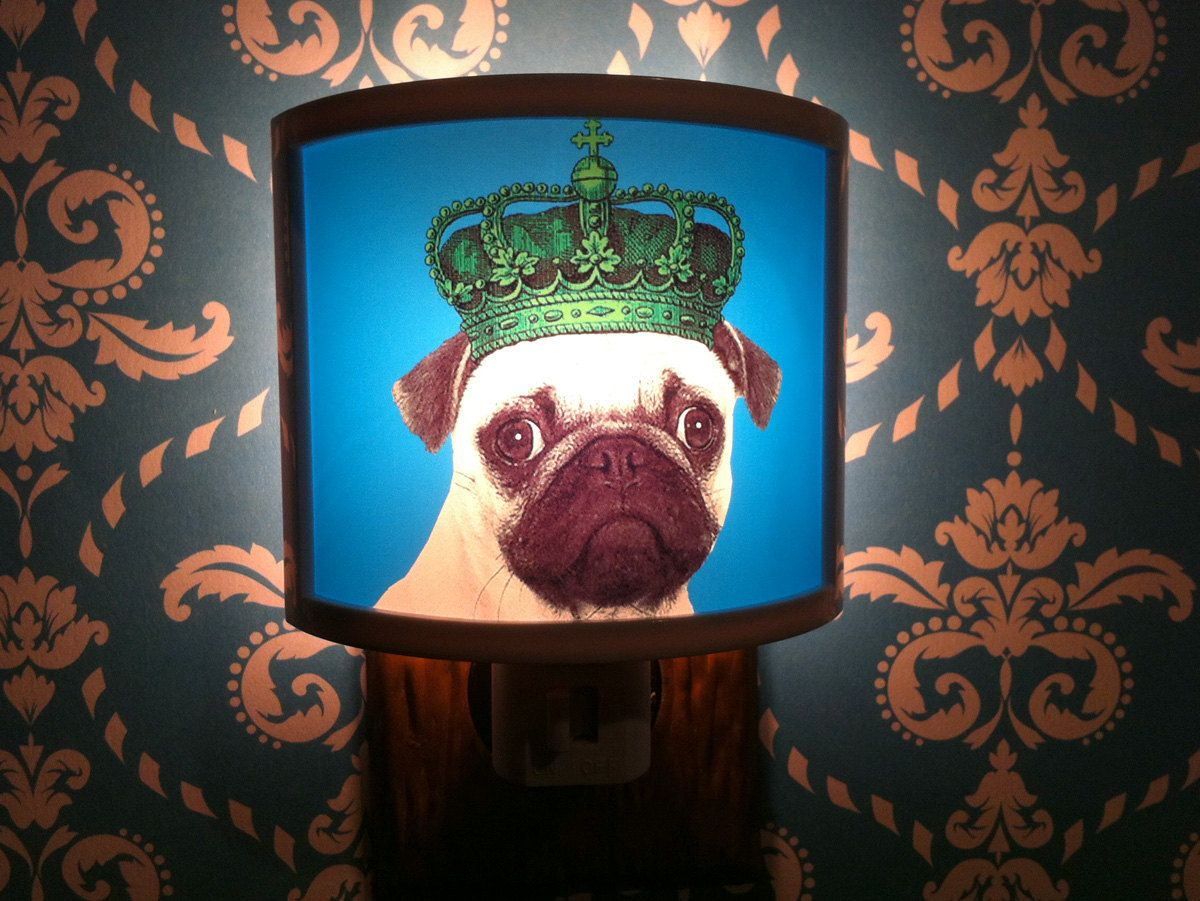 Pug Dog Pugs Rule Night Light Dog Puppy In Crown Cute Nursery