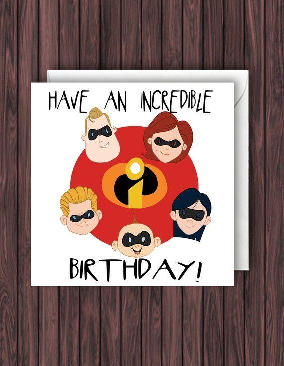The Incredibles. Disney Birthday Card. Pixar Card. Blank ...