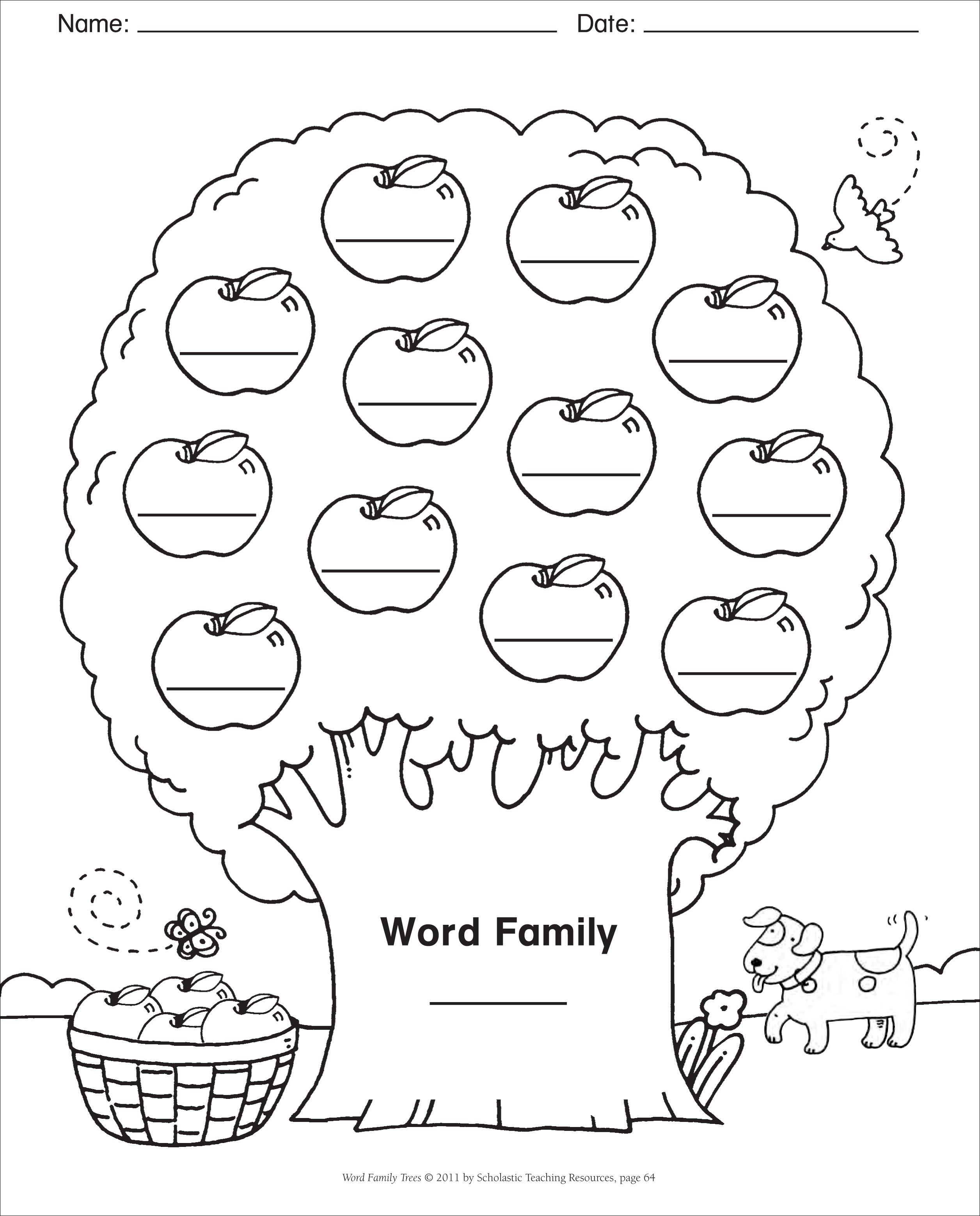 Word Family Template  Blank Template Word Family Tree  Spelling