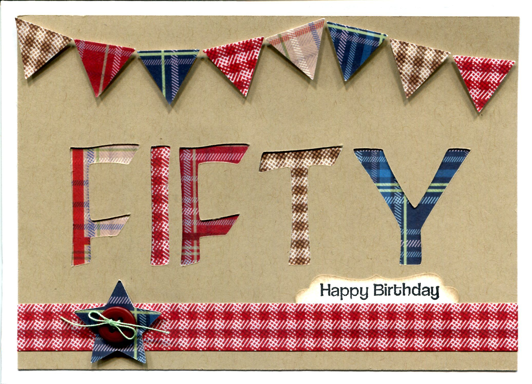 Handmade card male 50th birthday card using docrafts christmas in handmade card male 50th birthday card using docrafts christmas in the country tartan bookmarktalkfo Image collections