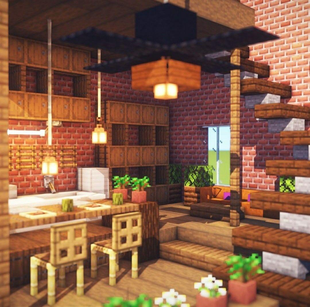 Minecraft Stairs Dining Design In 2020 Minecraft Interior Design Minecraft Designs Amazing Minecraft