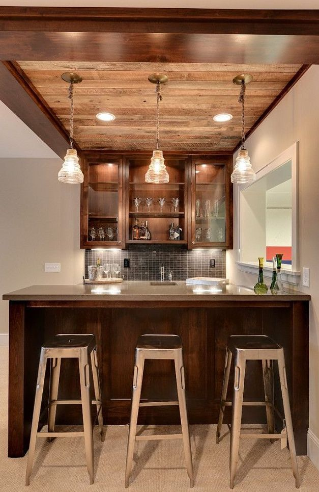 Interior Design Ideas For Home Bar: A Ceiling Like This To Tie Into Upstairs Decor