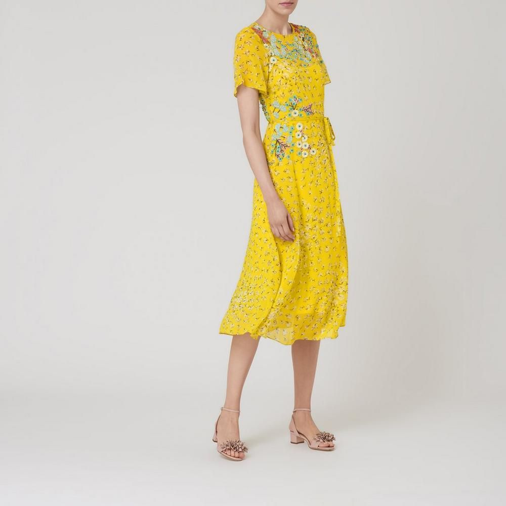 Lela yellow silk dress clothing l k bennett dream for Lk bennett wedding dress