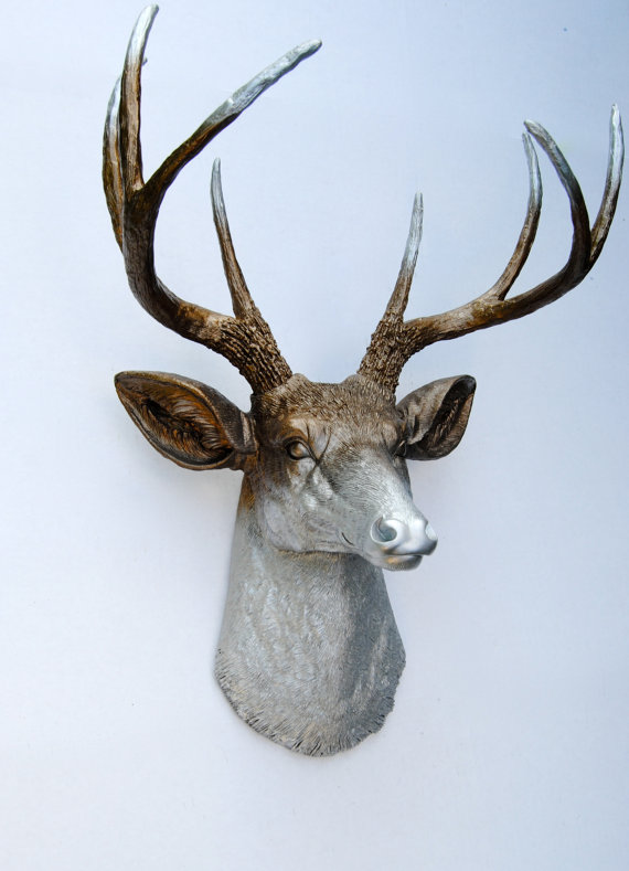 Ombre Deer Head Decor Faded Metallic Bronze And Silver Antlers Faux Taxidermy Wall Mount D0910 On Etsy 89 99
