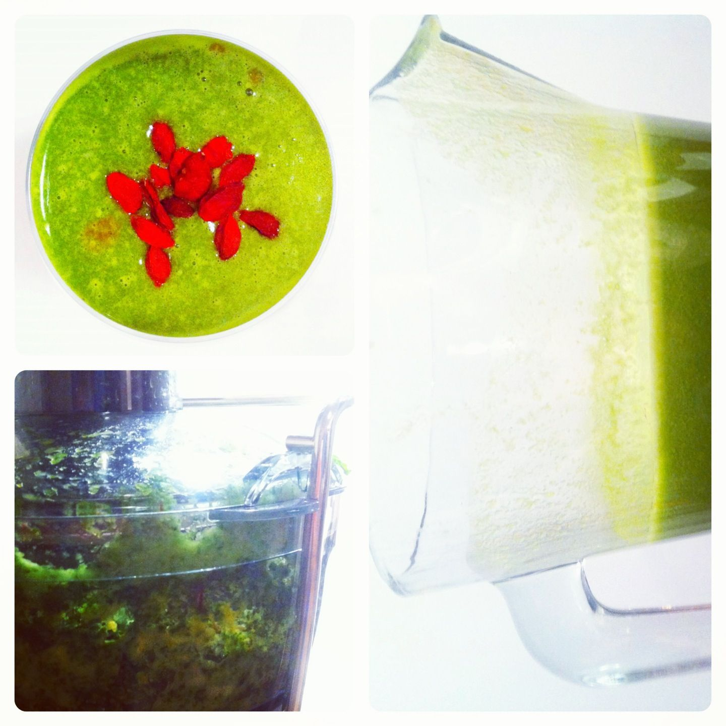 Green cocktail with dried goji berries.