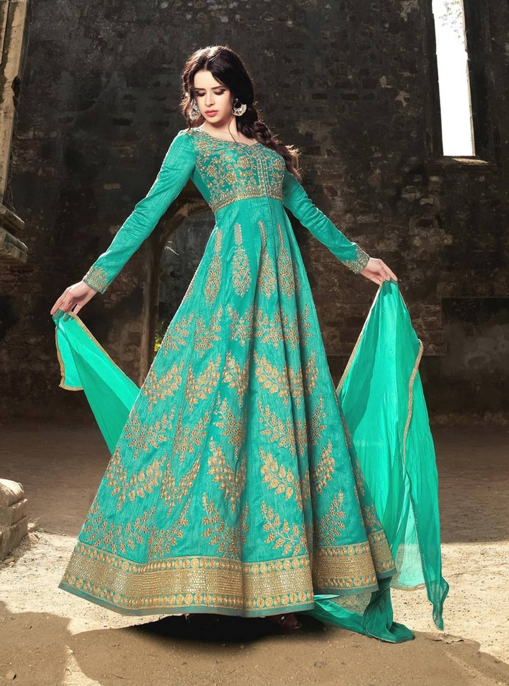 8a536453ba22ea Sea Green zari embroidered Pakistani nikah wear anarkali frock in silk  E17092