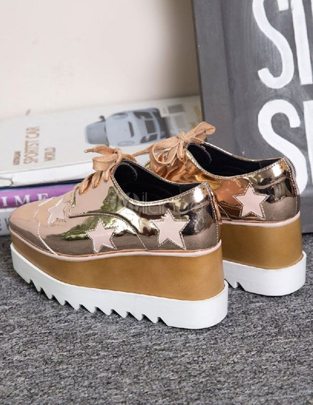 925b702fc7c8 White Platform Shoes Star Pattern Lace Up Glazed PU Wedge Women s Oxfords
