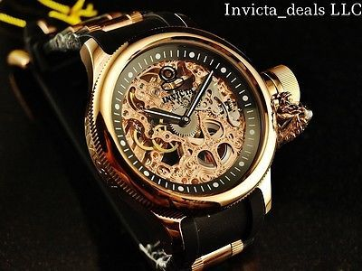 jewelry Invicta Men 52mm Mechanical Skeleton Russian Diver 18K Rose