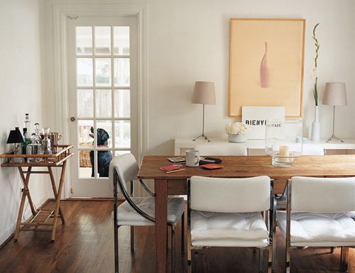 Modern Mix Dining Room White Wood Leather Chairs