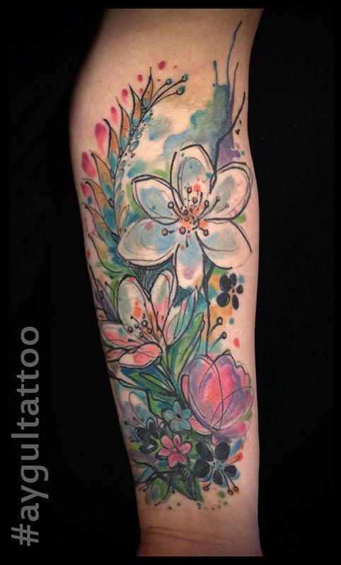 Abstract Daisy Tattoo: #abstract #flowers #watercolor #aygultattoo
