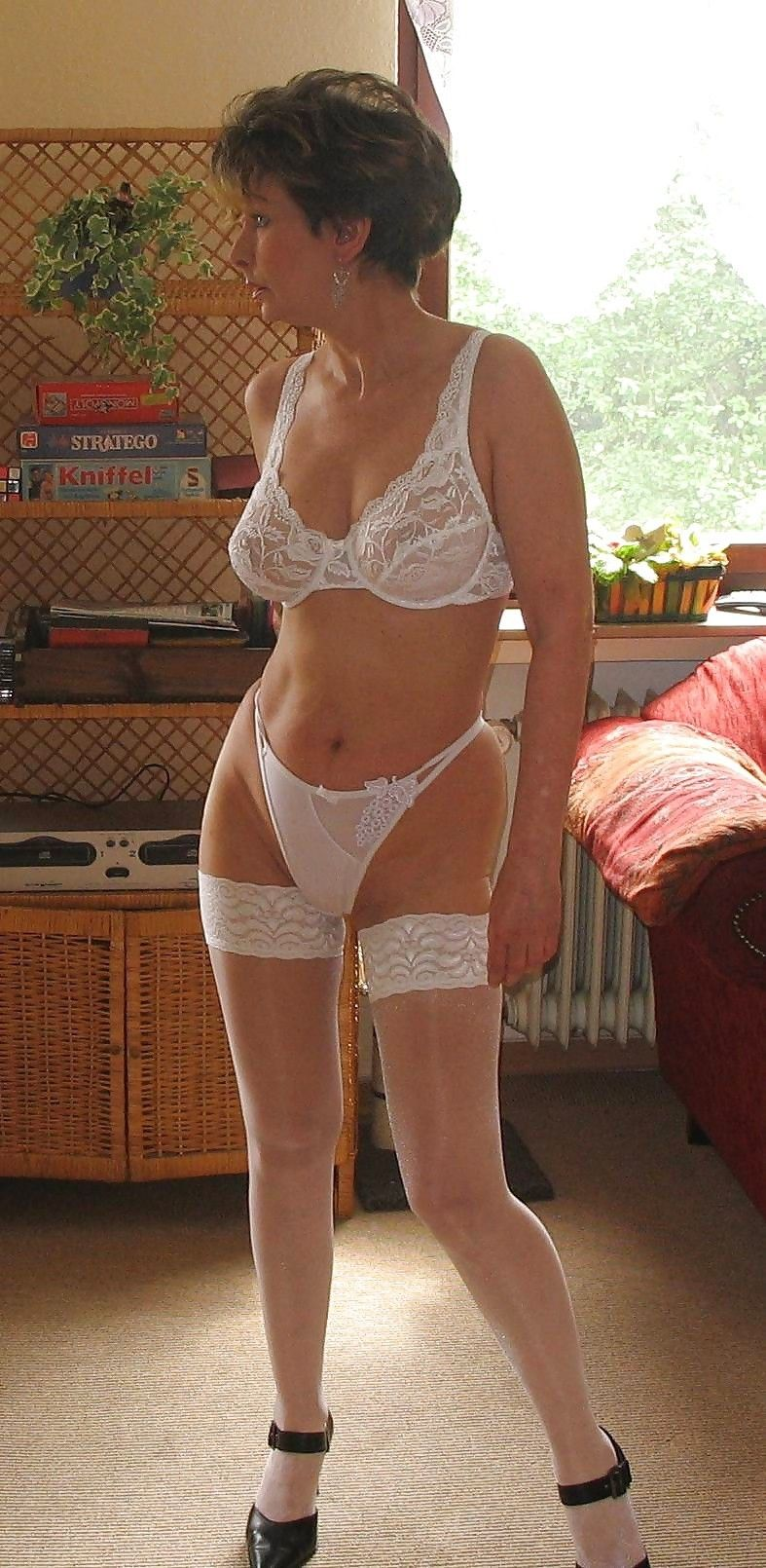 Super hot milf in white lingerie