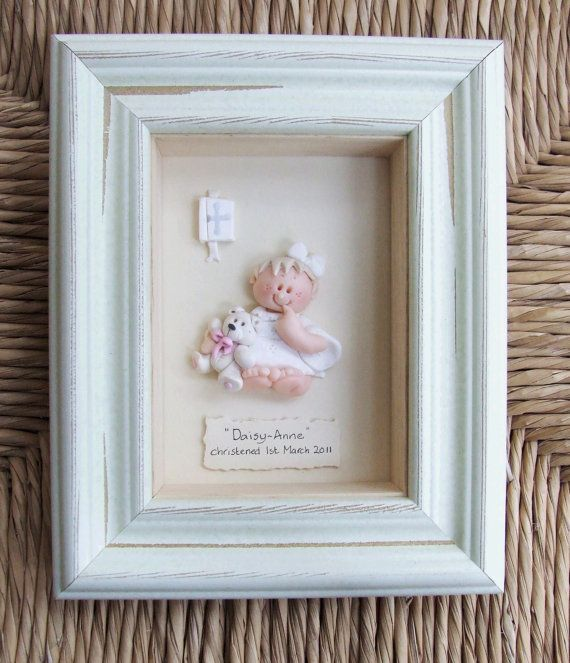 Personalized Baptism, Personalised Christening Gift, Plaque, Polymer Clay Frame