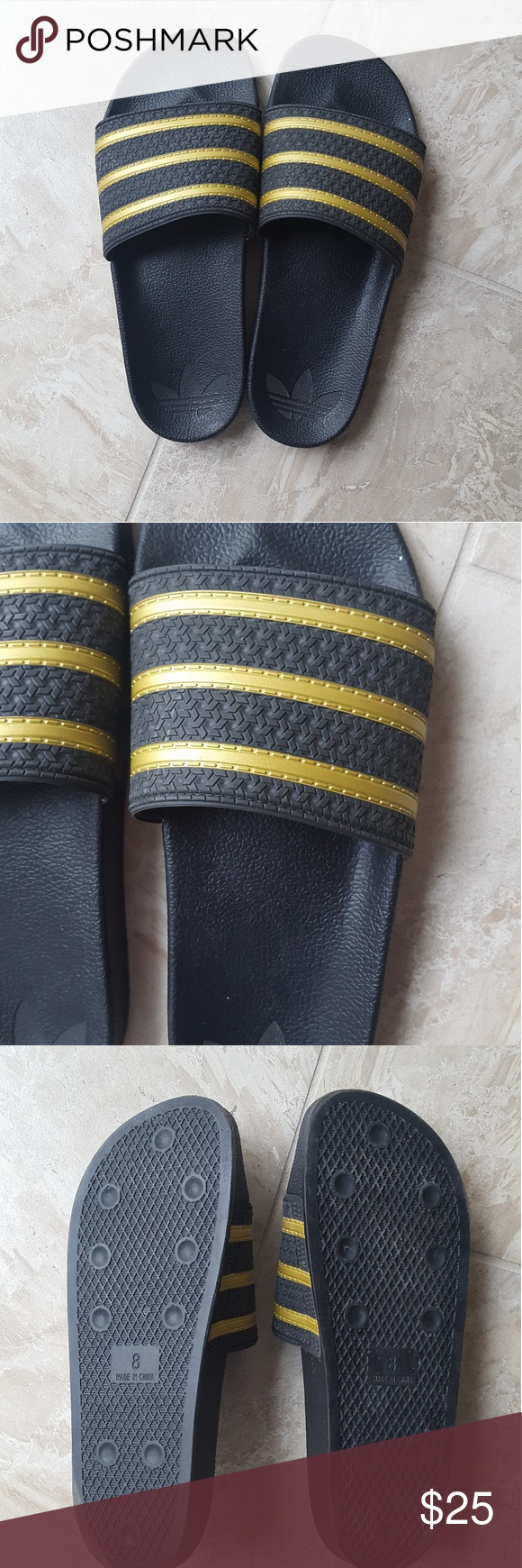 37e6eb672 Custom Adidas slides/sandals! Custom made black and gold Adidas slides ( sandals). Gently worn just a couple times so still in great condition!!!  adidas ...