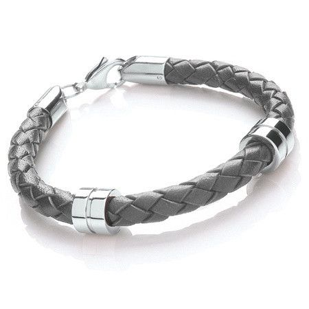 5735095bd Tribal Steel 21cm Grey Leather Bracelet with Steel Bands | Tribal ...