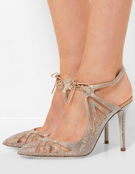 Satin High Heels Elegant Apricot Rhinestone Beaded Pointed Toe Slingback  Stiletto Heel Pumps
