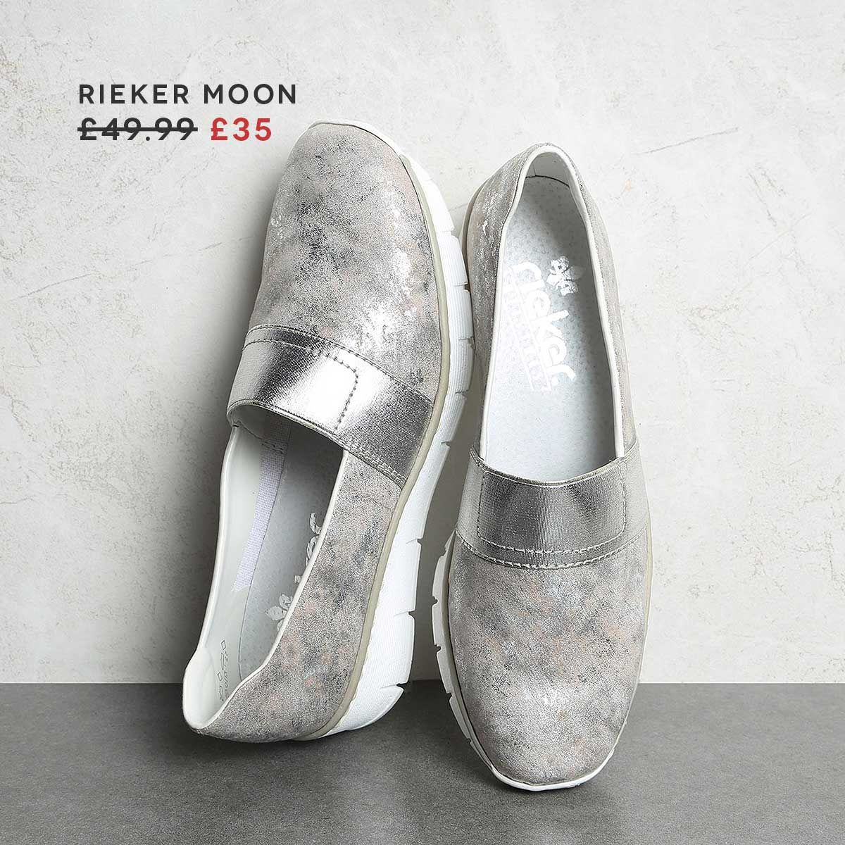 Refresh your wardrobe in a metallic pair of Rieker Moon. Now x1whd