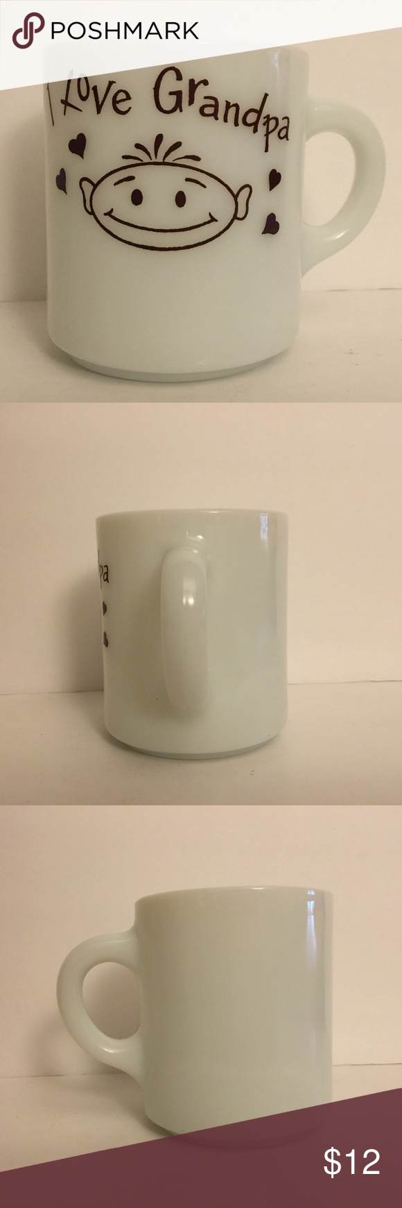 Vintage White Milk Glass I Love Grandpa Mug Vintage White Milk Glass I Love Grandpa Mug Brown Hearts & Lettering #74 Stamped on Bottom 3.5