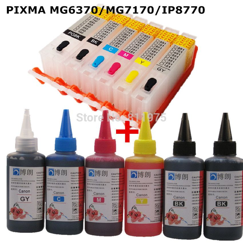 6 Ink For Canon Pixma Mg6370 Mg7170 Ip8770 Printer Pgi 750 Cli 751