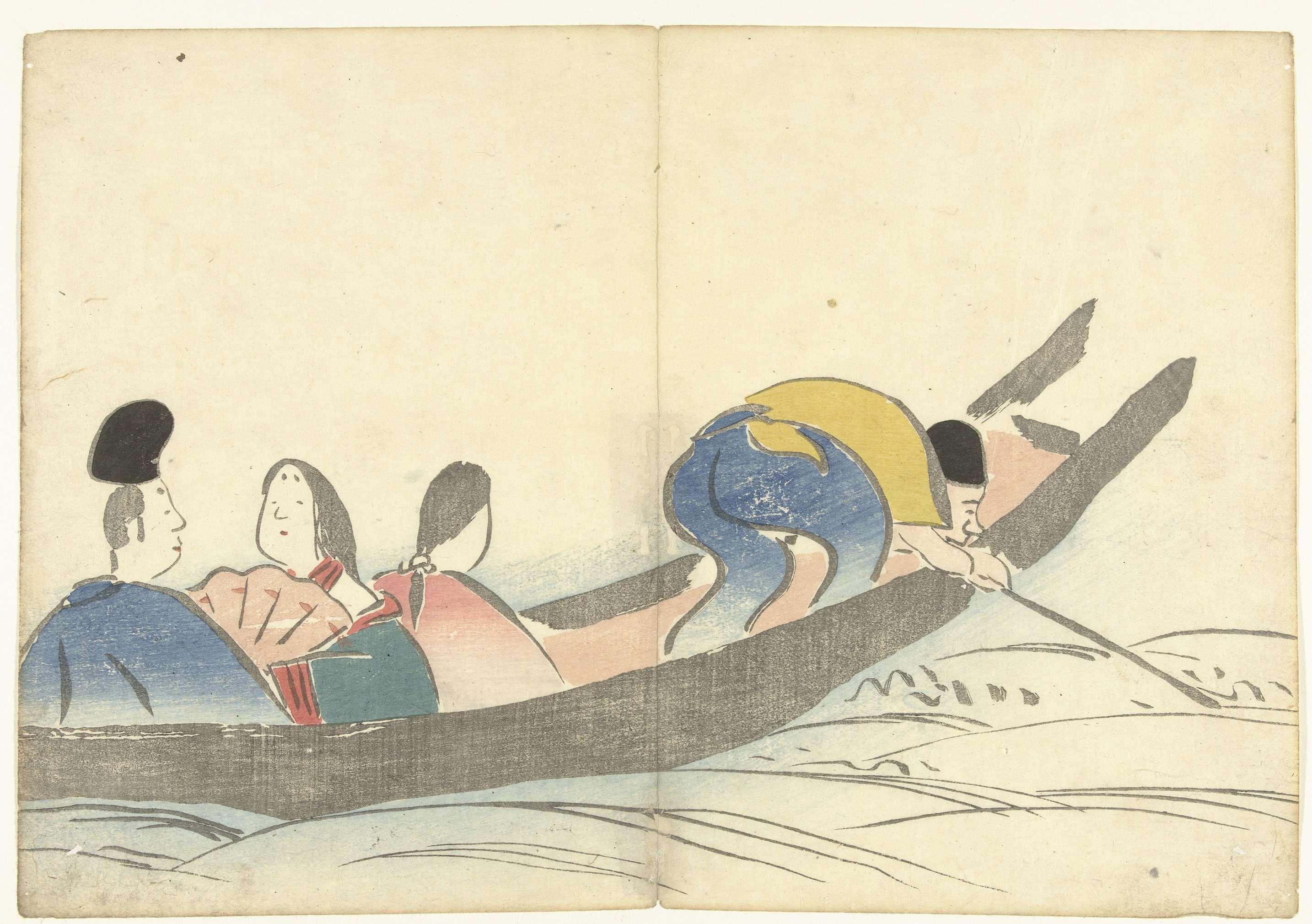 Nakamura Hôchû   Personen in een boot, Nakamura Hôchû, Izumiya Shojiro, 1826   Drie pasagiers en een roeier in een boot.