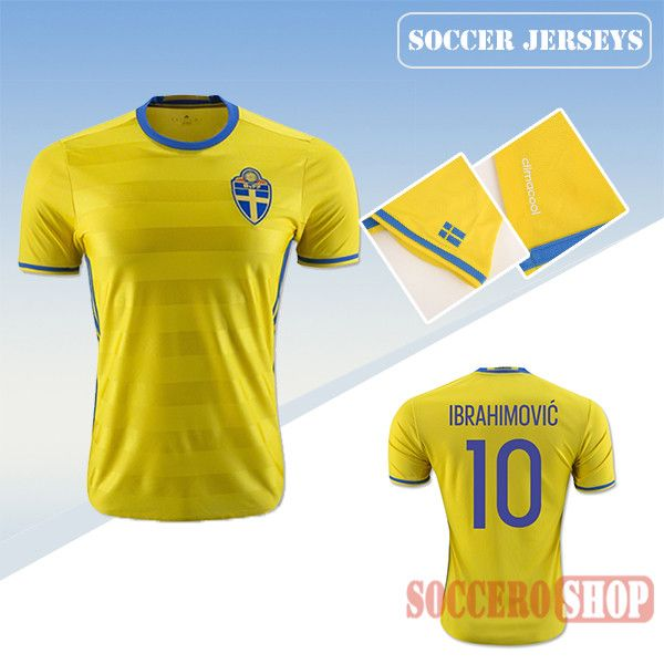 meet 05f64 68ddf Latest Best Sweden Yellow 2016 2017 Home Soccer Jersey With ...