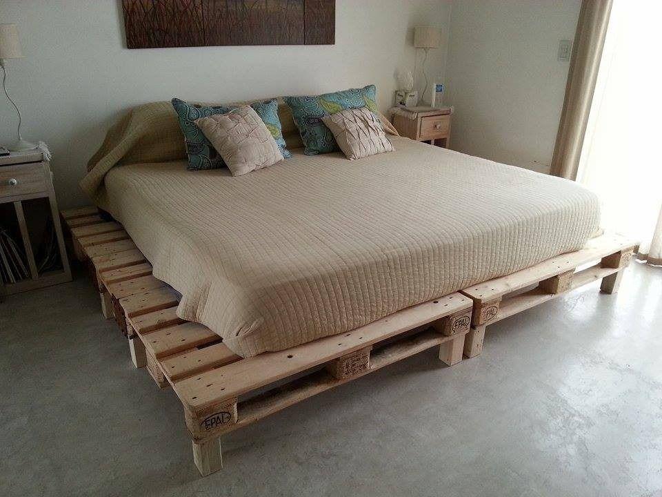 Cama rustica sommier de pallet euro queen dise o y calidad - Disenos de camas ...