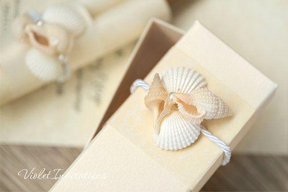 Seashells And Pearls Themed Wedding Invitation Boxed Scroll