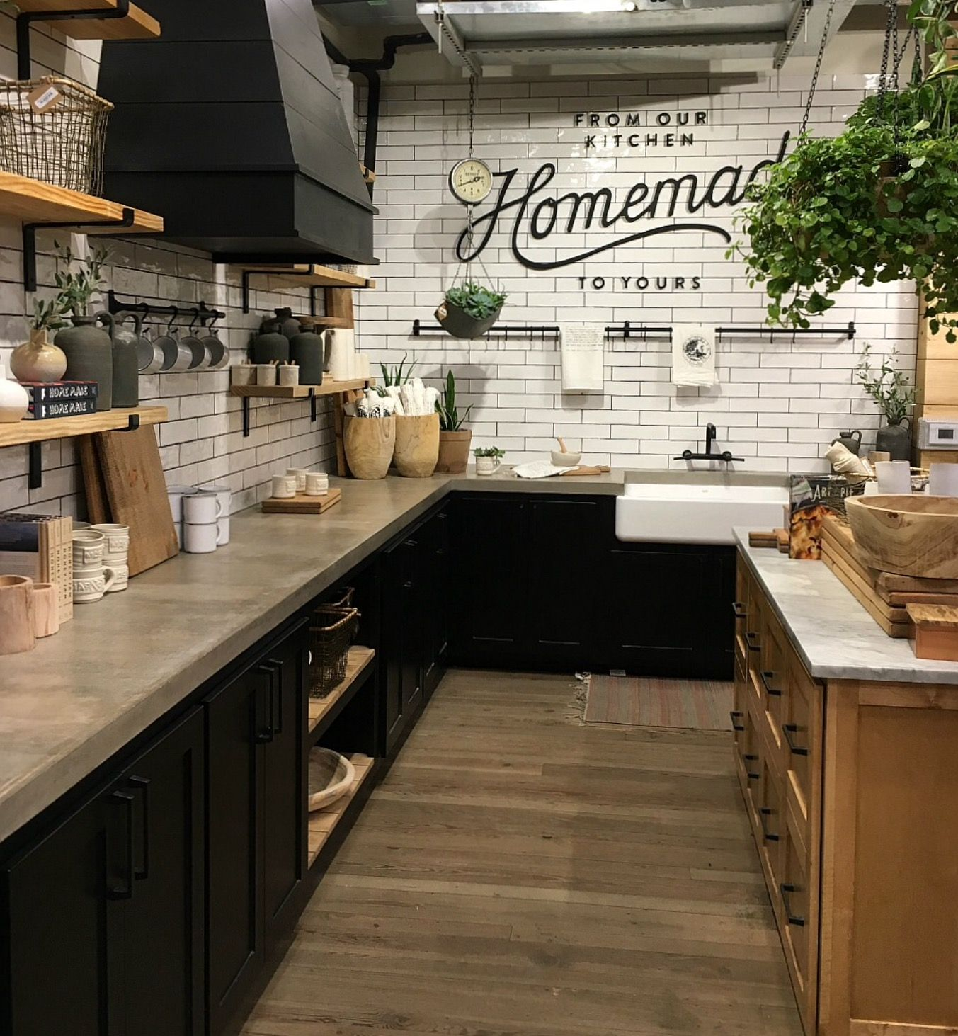Dark Lower Cabinets With Concrete Counter Tile Walls And Open Shelving Up Top Farmhouse Kitchen Design Kitchen Inspirations Farmhouse Kitchen Cabinets