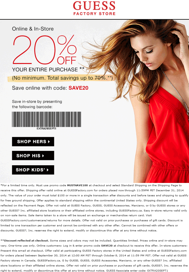 Pinned september 30th extra 20 off at guess factory locations or pinned september 30th extra 20 off at guess factory locations or online via promo code save20 coupon via the coupons app fandeluxe Gallery