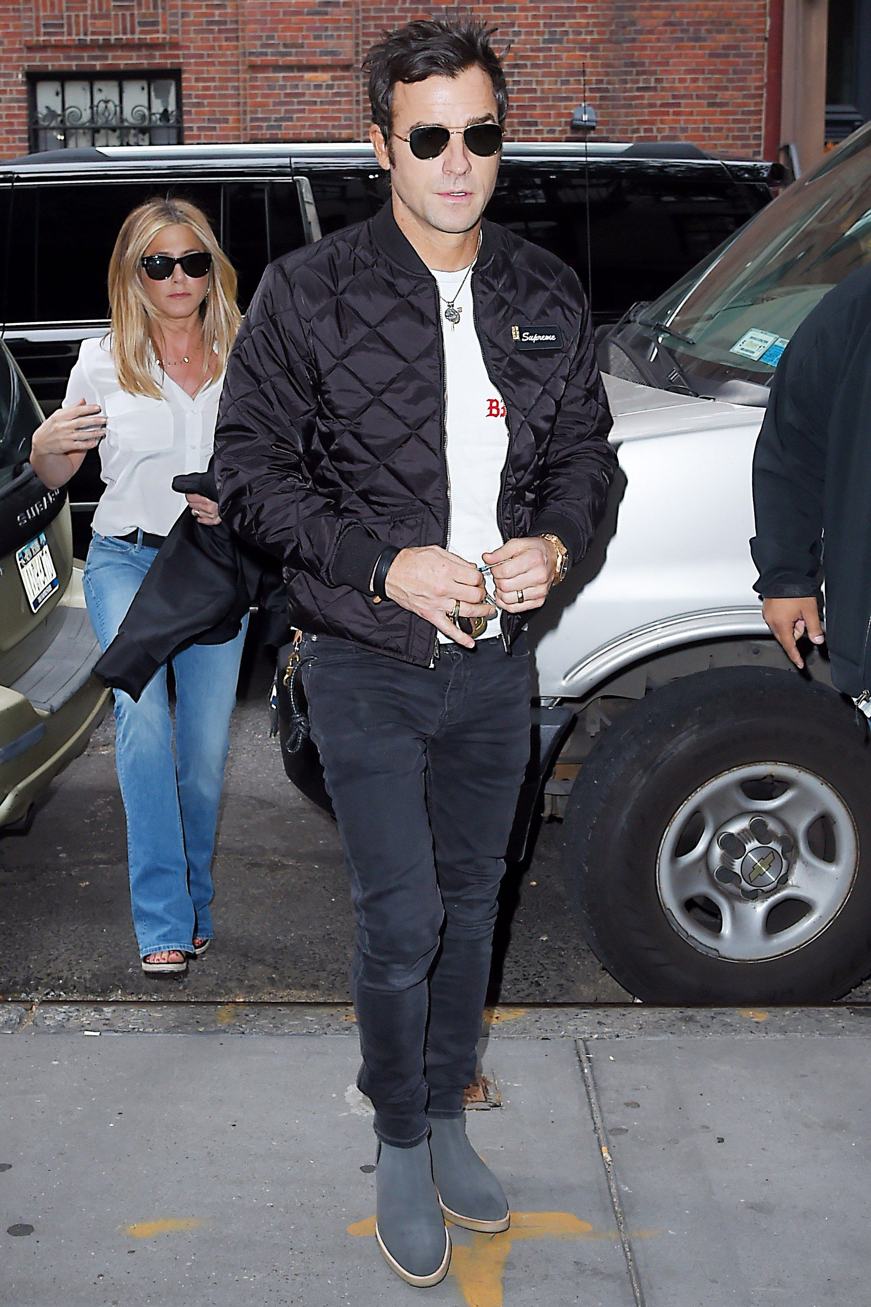 How To Wear A Lot Of Black Like Justin Theroux Justin Theroux Cargo Jacket Mens Leather Jacket [ 2690 x 1793 Pixel ]
