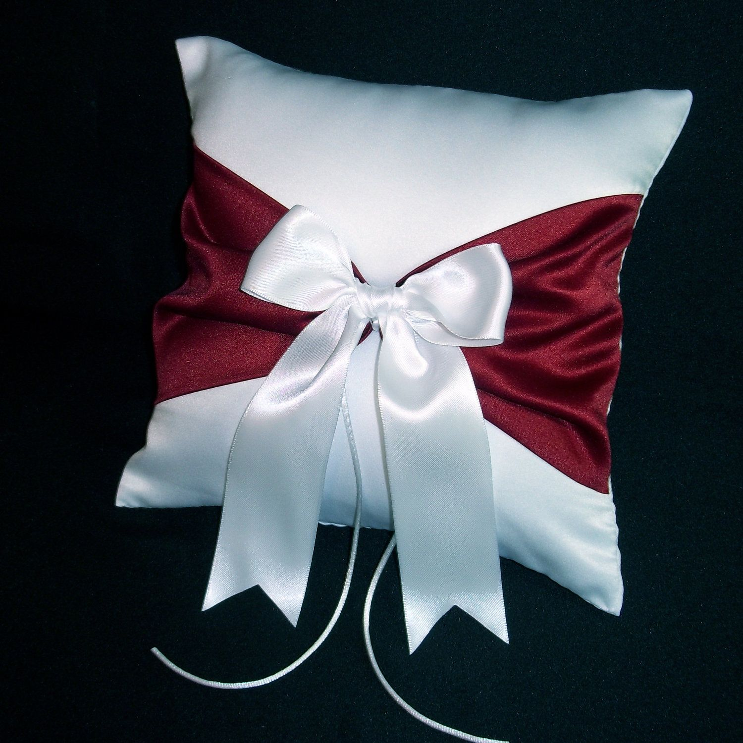 White or Ivory Wedding Ring Bearer Pillow Claret Apple Red Accent
